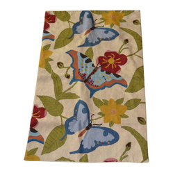 Crewel Rug Butterfly Cream Chain Stitched Wool Rug (4x6FT)