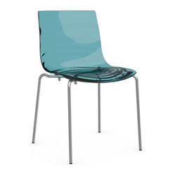 Calligaris - L'EAU Chair, Chrome Frame, Transparent Aquamarine - A lipid pool or melting amber — imagination lives in these colorful and luminous chairs. With a smooth acrylic seat and modern chrome base, its colors are the star, punching up any space with a strong dose of whimsy.