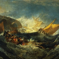 Wallmonkeys Wall Decals - Fine Art Murals Shipwreck of the Minotaur by William Turner  - 52 Inches W x 37 - Easy to apply - simply peel and stick!