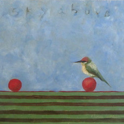 Sky Above (Original) By Diane Ingalls-Reid - Little birds on red balls in a landscape of striped ground. What could be more fun?