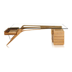 Kardiel - Kardiel 1949 Protractor Desk Mid-century Modern, Ash Wood/Glass - A study of the architectural elements comprising the structure of the Protractor Desk brings full appreciation for the modernist masterpiece. A chair would slide beneath two boomerang Solid Ash support beams. At the point where vertical transforms to horizontal, rounded oblong shapes have been cut out of the beams creating a transparent airy illusion.  Resting on raised stainless steel support buttons, A 15mm thick tempered glass plate provides an elegant writing surface for Protractor. Stainless steel bolt sleeves float the wooden beams off the surface of the slatted cube of 5 drawers. On the opposite side, total transparency is achieved with an open faced single pull out drawer covered by a 15mm glass panel. Two steel rods extend from the boomerang beams, supporting the outer edge of the transparent drawer. A design marvel exceptionally reproduced and coated with a brilliant lustrous finish.