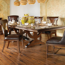 "American Drew - American Drew Laurel Springs Finley Trestle Dining Table in Bourbon - The country French trestle dining table features sturdy architectural details and a substantial apron rail molding. This is paired with and wood xback chair and an upholstered wing chair with nail head trim. A four door buffet with deep frame moldings provides ample serving and storage space. A deep, aged bourbon finish is laid over rustic maple veneers. Heavy distressing compliments the time-worn appeal of the group. Rubbed bronze hardware adds to the antique nature of the cases. - 216-744R.  Product features: Belongs to Laurel Springs Collection by American Drew; Solid wood fronts; Deep, aged bourbon finish; Rustic maple veneers; Rectanglar Table Top Shape; Double Pedestal Trestle Base; 2 x 20"" Leaves; Extends to 122"". Product includes: Table Top (1); Table Base (1). Finley Trestle Dining Table in Bourbon belongs to Laurel Springs Collection by American Drew."