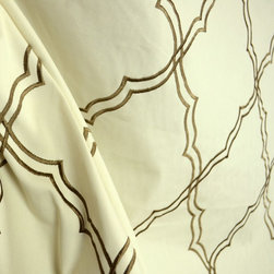 Kravet - Elysian Mocha Trellis Diamond Embroidered Fabric By The Yard - Elysian in the color Mocha is a stunning embroidered trellis fabric. Very Soft Cotton feel theis fabric is great fo Draperies, bedding, pillow and light upholstery