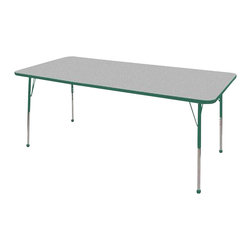 "Ecr4kids - Ecr4Kids Adjustable Activity Table Rectangular 36"" X 72"" Elr-14113-Ggn-Tb Green - Table tops feature stain-resistant and easy to clean laminate on both sides. Adjustable legs available in 3 different size ranges: Standard (19""-30""), Toddler (15""-23""), Chunky (15""-24""). Specify edge banding and leg color. Specify leg type."