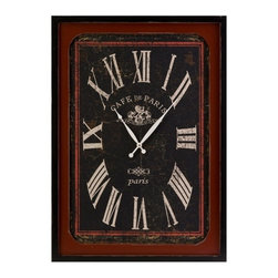 IMAX CORPORATION - Bistro Wall Clock - A black face antiqued clock features red accents as if found in a classic French sidewalk cafe. Find home furnishings, decor, and accessories from Posh Urban Furnishings. Beautiful, stylish furniture and decor that will brighten your home instantly. Shop modern, traditional, vintage, and world designs.