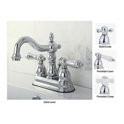 None - Heritage Chrome 4-inch Center Bathroom Faucet - Add a classic touch to your home decor with this Heritage double-handle centerset bathroom faucet. This faucet is available in a number of handle combinations to accent any decor.