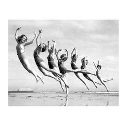 Artehouse Dancers on the Beach Art Print - 18W x 24H in. - Strike a pose. Dancers on the Beach is a visual frolic on the beach. This limited edition black and white photograph is printed on quality Somerset Velvet paper. It is an image of a troupe of dancers dancing on the beach. This vintage photograph measures 24L x 18 inches high has an elegant white border and comes ready for framing. Great gift idea for the dancer in your life.