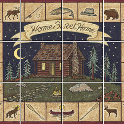IdeaStix - Log Cabin Sampler 12-Piece Mural IdeaStix Peel and Stick - IdeaStix Mural transforms an ordinary tiles and such into beautiful art decorations.  Made from proprietary rubber-resin, 12-Piece Mural Premium Peel and Stick Tile Decor is sized for 4.5 x 4.5 inch tiles and offers a quick and easy solution of having a great Tile Mural in kitchen or bath/shower.  With water/heat/steam-resistant, nontoxic, washable, removable and reusable features, it is ideal for kitchen backsplash and bath/shower tile cecoration and suitable for smooth and non-porous tile surfaces in hot, wet and humid areas.  Surface can be washed with most household cleaning products.