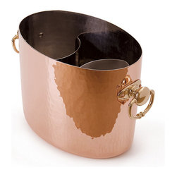 Frontgate - Mauviel Copper Wine & Champagne Bucket - Hammered and polished copper exterior. Non-reactive tin interior with stainless steel insert. Attractive brass handles attached with sturdy copper rivets. Hand wash in warm, soapy water. A good copper polish will keep the exterior looking its best for years. Add an elegant accent to your entertaining with our Mauviel Copper Wine & Champagne Bucket. This bucket keeps up to 2 bottles of wine or champagne chilled side by side. . . . . . Made in France.