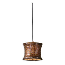 Uttermost - Marcel Copper Mini Drum Pendant - Sleek, Supple Metal Mesh Distinguishes This Unique Fixture. Metal Mesh Finished In A Metallic Copper. Number Of Lights: 1, Shade Size: Height: 7, Width: 8.625, Depth: 8.625, Voltage: 110, Wattage: 60w, Bulbs Included: No