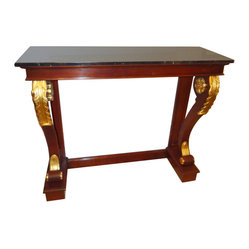 Elegant Custom Mahogany and Gold Leaf Console - From a magnificent home in Princeton, a custom built console with mahogany and gold leaf base, black marble top.