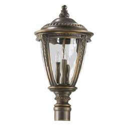 Quorum Lighting - Quorum Lighting Pemberton Traditional Outdoor Post Lantern Light X-93-3-5237 - Those with an eye for detail will appreciate this Quorum Lighting outdoor post lantern light. From the Pemberton Collection, the finial features botanical detailing that compliments the botanical accents on each of the columns. This traditional outdoor lighting fixture also features a rich Bronze Patina finish and clear hammered glass shade, both of which work to draw the eye in.