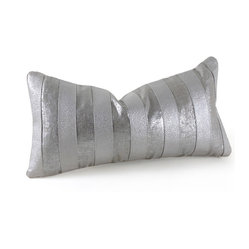 Pfeifer Studio - Striped Metallic Pillow - Metallics always add glitz and glamour, and these pillows are no exception. The embossed metallic leather creates a sparkling texture that would look beautiful on a sleek couch or even on a bed. A linen backing keeps the look feeling fresh and gives you the option to simply turn it over when you want to change the aesthetic.