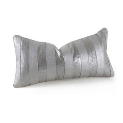 Pfeifer Studio - Metallic Stripe Pillow, Silver - Metallics always add glitz and glamour, and these pillows are no exception. The embossed metallic leather creates a sparkling texture that would look beautiful on a sleek couch or even on a bed. A linen backing keeps the look feeling fresh and gives you the option to simply turn it over when you want to change the aesthetic.