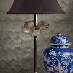 """Dessau Home - Nickel Plated Flower Lamp - Made from brass and silk. 16 in. W x 34 in. HValue has always been an essential ingredient at Dessau Home. """"Essentials"""" represents a collection of well-appointed yet affordable home furnishings with a unique traditional styling that appeals to most transitional and contemporary home decorating needs."""