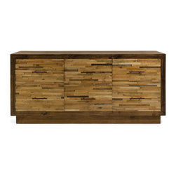 Reclaimed Wood Dresser - Classy and undeniably gorgeous, this dresser is the perfect mixture of pine and reclaimed wood. The marbling of different woods works beautifully to create an ideal display area up top, with a generous amount of room in the six drawers below.