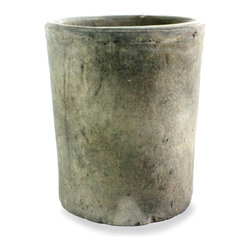 Rustic Terra Cotta Cylinder - Moss Grey - Large - Deeper than its smaller, matching companion, the Rustic Terra Cotta Large Cylinder in Moss Grey is amply sized for use as a deck planter, but like any such high-impact, space-enhancing container, it has myriad creative uses in the stately transitional home. Its soft finish of cool woodland grey gives a thoughtful, weathered look to a space while enhancing a range of natural tones.