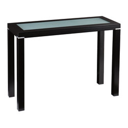 Holly & Martin - Phoenix Console Table - This console table features a painted black finish and contemporary boxy form. A lovely frosted glass inset contrasts the black frame for an exquisite appearance; small silver accents between the legs and table top complete the balanced design. This console table looks great in family rooms or living rooms with transitional or modern decor. It also works in hall and entry areas, and the linear form works well for rooms large or small.