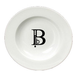 Caroline's Treasures - Letter B Initial Monogram Modern Round Ceramic White Soup Bowl CJ1056-B-SBW-825 - Letter B Initial Monogram Modern Round Ceramic White Soup Bowl CJ1056-B-SBW-825 Heavy Round Ceramic Soup Bisque Gumbo Bowl 8 3/4 inches. LEAD FREE, microwave and dishwasher safe. The bowl has been refired over 1600 degrees and the artwork will not fade or crack. The Artwork for this gift product and merchandise was created by Sylvia Corban copyright and all rights reserved.