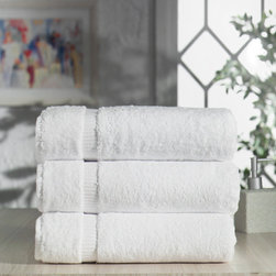 None - Salbakos CambridgeTurkish Cotton Bath Towel (Set of 3) - Experience the luxury of soft cotton bath towels from Turkey. These three white bath towels are made with 100 percent Turkish cotton,woven with a single yarn construction that results in a thick,plush towel that's extremely absorbent.