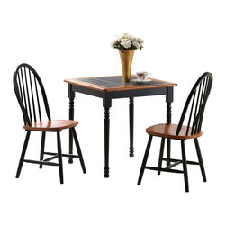 Boraam - Boraam Square Tile Top 3 Piece Dinette Set in Black and Cherry - Boraam - Dinette Sets - 70305 - Boraam's high quality products are well styled and priced right. Benefitting from years of experience in the industry Boraam knows what you look for in quality furniture and takes pride in getting orders out as diligently as possible. Feel confident that Boraam will take your living space to another level.