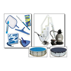 Blue Wave - Blue Wave Supreme Round Sand Equipment Package - 20/21 ft Large - Supreme sand equipment package our supreme sand pool equipment packages provide what you need to get swimming and maintain your pool, plus some major upgrades! Packages include a Sandman  pump and filter system and a maintenance kit. Supreme packages upgrade to our easy step; entry. Step up to the supreme package and add a dirtblaster; automatic cleaner, Arctic Armor; winter pool cover, and a solar pool cover. Available with 18; Sandman  sand filter system and 1-hp pump for pools up to 24 round/12 x24 oval; available with 22; Sandman  sand filter system and 1-1/2 Hp pump for pools larger than 24' round/12 x24 oval; easy step; entry system; in-pool step and outside ladder; maintenance kit: 3-Piece telepole, leaf skimmer, thermometer, vac hose, vinyl liner vacuum head, nylon wall brush and test strips; dirtblaster; automatic cleaner; 8-year Arctic Armor; winter cover; solar pool cover.