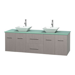 Wyndham Collection - Centra Bathroom Vanity in Grey Oak,GN Glass Top,Pyra White Sinks,No Mir - Simplicity and elegance combine in the perfect lines of the Centra vanity by the Wyndham Collection. If cutting-edge contemporary design is your style then the Centra vanity is for you - modern, chic and built to last a lifetime. Available with green glass, pure white man-made stone, ivory marble or white carrera marble counters, with stunning vessel or undermount sink(s) and matching mirror(s). Featuring soft close door hinges, drawer glides, and meticulously finished with brushed chrome hardware. The attention to detail on this beautiful vanity is second to none.