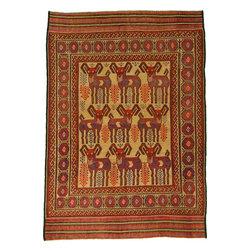 eSaleRugs - 6' 5 x 9' Pictorial Sumak Rug - SKU: 22139323 - Hand Woven Pictorial Sumak rug. Made of 100% Wool. Brand New.