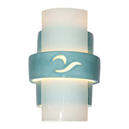 A19 - South Beach Wall Sconce Teal Crackle and White Frost - This modern wall sconce was inspired by the unique style of South Beach Miami. Slumped glass is paired with a tiered ceramic base. Light shines through openings at the top, the bottom and openings along the center in addition to illuminating the featured cutout design._