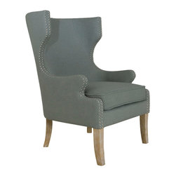 "Uttermost - Uttermost Graycie High Back Wing Chair - Graycie High Back Wing Chair by Uttermost Elegant Gray Linen Accented By A Double Row Of Polished Nickel Nails Highlighting The Eccentric, Curved Wing And Track Arm Down To The Whitewashed, Solid Oak Legs. Seat Height Is 20""."