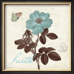 Artcom - Touch of Blue II, Faith by Katie Pertiet - Touch of Blue II, Faith by Katie Pertiet is a Framed Art Print set with a COVENTRY Black Thin wood frame.