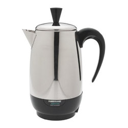 Applica Consumer Prod - 8Cup Percolator - Brews instantly and maintains cup-a-minute speed. Automatically switches to keep warm temperature. Rolled edges for safe and easy handling. Stay cool handle, cover knob, and detachable cord. Durable stainless steel. 1000 watts. Cap Cups=2 to 8. This item cannot be shipped to APO/FPO addresses. Please accept our apologies