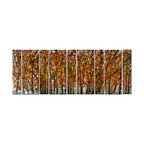 Pure Art - Firelight Birches Modern Tree Art Set of 9 - This oversize wall art has the visual impact of driving over a hill and being suddenly greeted with an immense stand of birch trees in full autumn glory. This metal art is made of nine panels in two different widths, but reads as one huge artwork. The grey of the tree trunks and backdrop are contrasted with leaves in a riot of red and yellow.Made with top grade aluminum material and handcrafted with the use of special colors, it is a very appealing piece that sticks out with its genuine glow. Easy to hang and clean.