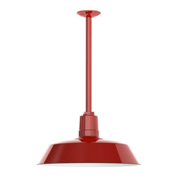 Barn Light Electric - Benjamin® Sky Chief Porcelain Stem Mount Light - RLM barn lighting rose in popularity during the 1930s as a resilient light fixtures that could withstand even the harshest of environments. This was attributed to the barn light's steel shades and vitreous enamel coatings. Barn Light Electric has recaptured that successful formula with our classic Benjamin® Sky Chief. Hand-spun from commercial grade steel, this porcelain barn light carries on the hard-wearing spirit of its predecessors in a modern stem mounted pendant. Rated for wet locations, the Benjamin® Sky Chief makes a stately piece for horse barns and home exteriors but can also be hung as an indoor stem pendant. Customize your barn lights with a variety of shade, finish, and accessory options. If you are looking for an energy efficient alternative, check out our Benjamin® Sky Chief LED Pendant!
