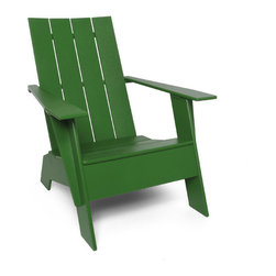 Loll Designs - 4 Slat Flat Standard Adirondack, Evergreen - The Loll 4-Slat Adirondack has more comfort than you would expect from an outdoor chair, and even more so when you factor in that you will never have to work on it. The thick recycled plastic feels solid and at more than 50 pounds this chair will not blow around. Add a matching 4-Slat Ottoman and the whole world will smile at you. Unlike most Adirondacks, we have hidden nearly every fastener for the cleanest lines. Available in nine environmentally friendly colors. And now you never have to get up! Loll Adirondack's now come with an installed stainless steel bottle opener below the sitters' right arm. Cooler not included.