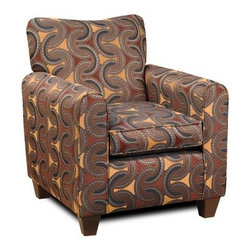 Chelsea Home Jessica Accent Chair - Trilogy Brown - Stylish reds, browns and dark blues come in patterned and curved half-spheres in this Chelsea Home Jessica Accent Chair - Trilogy Brown, sure to provide your living room or lounge are with a touch of elegance and, just as importantly, a comfortable resting spot when hosting friends for cocktails or relaxing for a night in front of the television. The chair's frame was constructed of solid wood and comes in a shape designed to be slimmer, taller and sturdier, with armrests positioned to keep you upright and alert. The modern design also includes polyester upholstery and a high-density foam cushion that includes a sinuous spring system that ensures comfort and support plus a Dacron wrap that helps prevent sliding. Dimensions include a 31-inch seat, 32-inch depth and 38-inch-tall back rest.About Chelsea Home FurnitureProviding home elegance in upholstery products such as recliners, stationary upholstery, leather, and accent furniture including chairs, chaises, and benches is the most important part of Chelsea Home Furniture's operations. Bringing high quality, classic and traditional designs that remain fresh for generations to customers' homes is no burden, but a love for hospitality and home beauty. The majority of Chelsea Home Furniture's products are made in the USA, while all are sought after throughout the industry and will remain a staple in home furnishings.