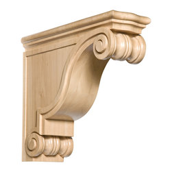 "Hand Carved Classic Rangehood Corbel CRV5293 - 5 5/8""w x 16""h x 18""d. Hand carved maple. Available in cherry."
