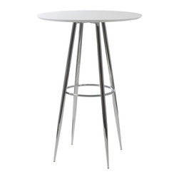 "Eurø Style - Bravo 30"" Round Bar Table in White/Chrome - Simple yet chic Bravo 30"" Round Bar Table in White/Chrome - Eurø Style pffers the perfect spot to enjoy a drink or meal!available in black color."