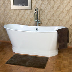 """68"""" Kateryn Cast Iron Bateau Tub with Plain Skirt - This beautiful free-standing, cast iron tub can fit into any bathroom, whether it's got fresh farmhouse style or is sleek and contemporary."""
