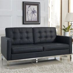 Florence Style Black Leather Loft Loveseat - The Leather Loft Loveseat offers a stunning and luxurious look that will instantly enhance any space. This mid-century modern leather love seat is inspired by the designs of Florence Knoll 1954 lounge collection, and has a recognizable mid-century modern style.The simple style of the Loft Loveseat in leather upholstery makes for a clean, sharp look. Tufted accents create a beautiful pattern, and the couch's low profile makes the loft sofa an ideal item small space. Features a polished stainless steel frame, and high quality leather cushions that attach by velcro to the back.This item is a high quality reproduction of the original.