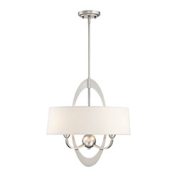 "Chrome Oval Metal 19"" Wide 3-Light Pendant Light"