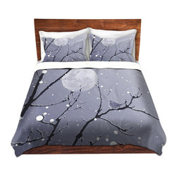 DiaNoche Designs - Duvet Cover Twill - Snowbird Blue Grey - Lightweight and soft brushed twill Duvet Cover sizes Twin, Queen, King.  SHAMS NOT INCLUDED.  This duvet is designed to wash upon arrival for maximum softness.   Each duvet starts by looming the fabric and cutting to the size ordered.  The Image is printed and your Duvet Cover is meticulously sewn together with ties in each corner and a concealed zip closure.  All in the USA!!  Poly top with a Cotton Poly underside.  Dye Sublimation printing permanently adheres the ink to the material for long life and durability. Printed top, cream colored bottom, Machine Washable, Product may vary slightly from image.