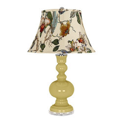 "Color Plus - Contemporary Butter Up Gray Botanical Shade Apothecary Table Lamp - Butter Up yellow glass table lamp. Gray botanical print bell shade. Lucite base. Maximum 150 watt or equivalent bulb (not included). On/off switch. 30"" high. Shade is 10"" across the top 17"" across the bottom 11"" on the slant.   Butter Up yellow glass table lamp.  Gray botanical print bell shade.  Lucite base.  Maximum 150 watt or equivalent bulb (not included).  On/off switch.  30"" high.  Shade is 10"" across the top 17"" across the bottom 11"" on the slant."