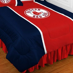 Sports Coverage - MLB Boston Red Sox Sidelines Bedding - Comforter - Twin - MLB Boston Red Sox Sideline Comforter looks and feels like a real jersey! A must have for any true fan. New Design - Same great quality! Show your team spirit with this great looking officially licensed Comforter which comes in a new style: Covers are 100% Polyester Jersey top side and Poly/Cotton bottom side, filled with 100% Polyester Batting. Logos are screenprinted. Machine washable in warm water, and tumble dry on low heat. Each comforter has the team logo centered on solid background in team colors. 5.5 oz. Bonded polyester batts. Looks and feels like a real jersey!