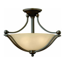 Hinkley - Bolla 2-Light Semi-Flush Mount Fixture Olde - The Bolla Collection features an Olde Bronze finish with Light Amber Seedy glass.