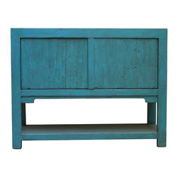 Madera Home - Lily Turquoise 2 Door Tall Sideboard with Bottom Shelf - Our collection of sideboards and buffets are built of beautiful elm wood reclaimed from buildings and furniture pieces that graced the eclectic Qing dynasty. Each piece is meticulously hand built and finished by time-honored craftsman utilizing over 120 different processes. A gorgeous addition to your dining room, stunning under your flat panel television, or the focal point of the master suite.