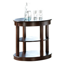 """Steve Silver Furniture - Steve Silver Crestview Oval End Table in Espresso - Circles align to create the contemporary look of the Crestview Collection. The Crestview Oval End table stands 24"""" high, with a 26"""" oval top, 26"""" oval bottom, and one shelf in between. This impressive-Piece complements the Crestview spinning cocktail table and sofa table."""