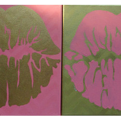 "Kiss, Kiss - Pink & Gold (Original) by Therese Tucker - The ""Kiss, Kiss"" series features two 12x12 paintings created to hang together, any which way you want. (Shown hanging side by side)  Kiss, Kiss in pink & gold has an invisible chevron background of pink and gold plating.  The kisses are made of 18 carat gold leaf and acrylic paint.  Both pieces are finished on the side and ready to hang."