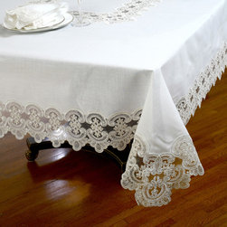 None - No-Iron Embroidered Lace Table Cloth or Napkins (Set of 6) - This embroidered lace tablecloth is a grand classic in an elegant style. Expertly woven of a special linen/polyester blend material combines the feel of fine table linens with easy care.