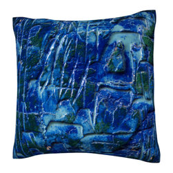 Custom Photo Factory - Abstract Blue Background Pillow.  Polyester Velour Throw Pillow - Abstract Blue Background Pillow. 18 Inches x 18  Inches.  Made in Los Angeles, CA, Set includes: One (1) pillow. Pattern: Full color dye sublimation art print. Cover closure: Concealed zipper. Cover materials: 100-percent polyester velour. Fill materials: Non-allergenic 100-percent polyester. Pillow shape: Square. Dimensions: 18.45 inches wide x 18.45 inches long. Care instructions: Machine washable